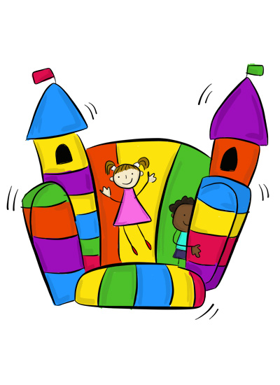 Karla's Parties Cornwall Kids Bouncy Castle Illustration